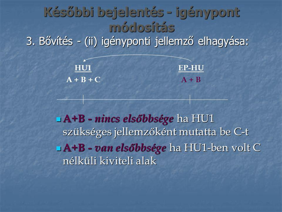 Későbbi bejelentés - igénypont módosítás 3. Bővítés - (ii) igényponti jellemző elhagyása: EP-HU A + B HU1 A + B + C A+B - nincs elsőbbsége ha HU1 szük