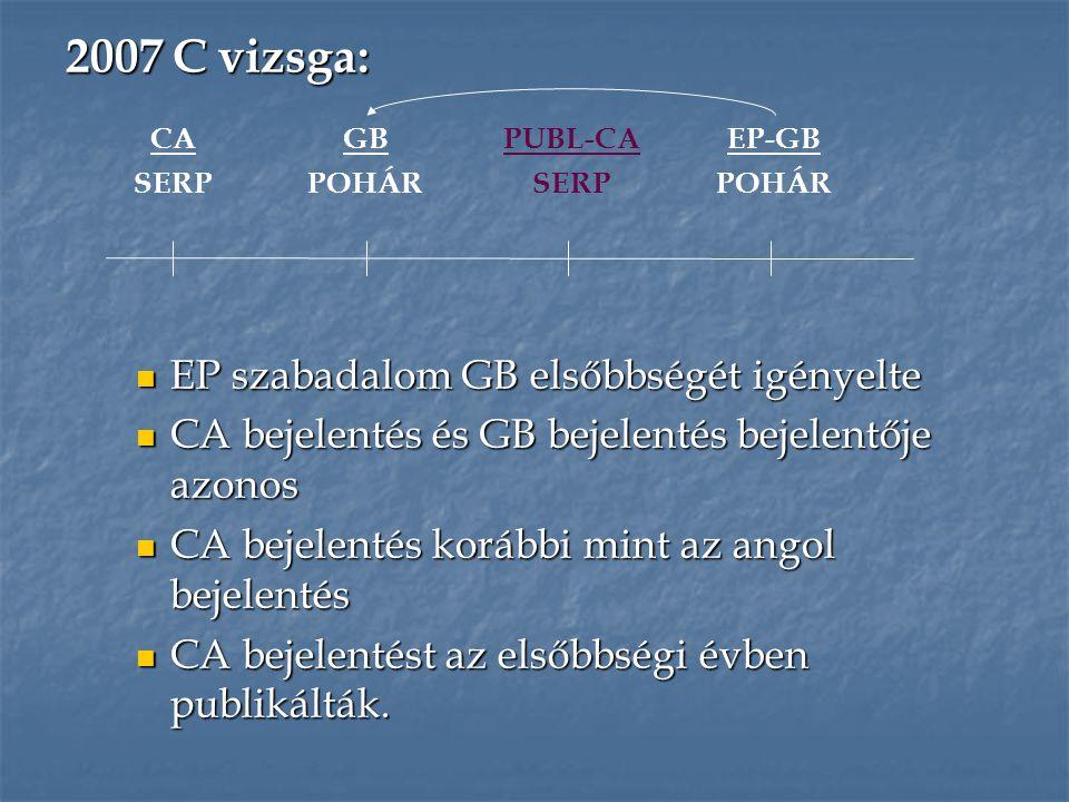 EP szabadalom GB elsőbbségét igényelte EP szabadalom GB elsőbbségét igényelte CA bejelentés és GB bejelentés bejelentője azonos CA bejelentés és GB be