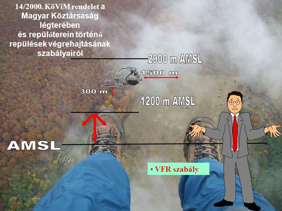 14/2000. KöViM rendelet a Magyar Köztársaság légterében és repül ő terein történ ő repülések végrehajtásának szabályairól VFR szabály