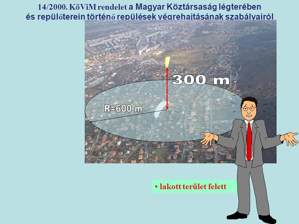 LÉGIJÁRMŰ lakott terület felett 14/2000. KöViM rendelet a Magyar Köztársaság légterében és repül ő terein történ ő repülések végrehajtásának szabályai