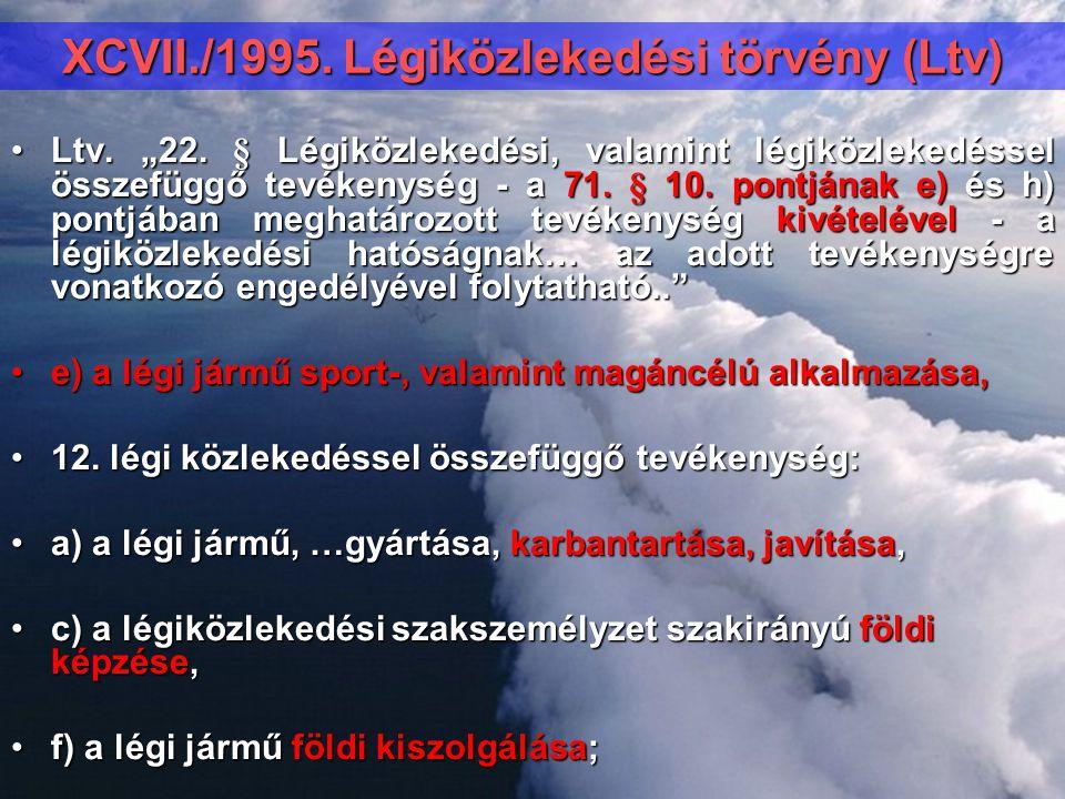 """XCVII./1995. Légiközlekedési törvény (Ltv) Ltv. """"22. § Légiközlekedési, valamint légiközlekedéssel összefüggő tevékenység - a 71. § 10. pontjának e) é"""