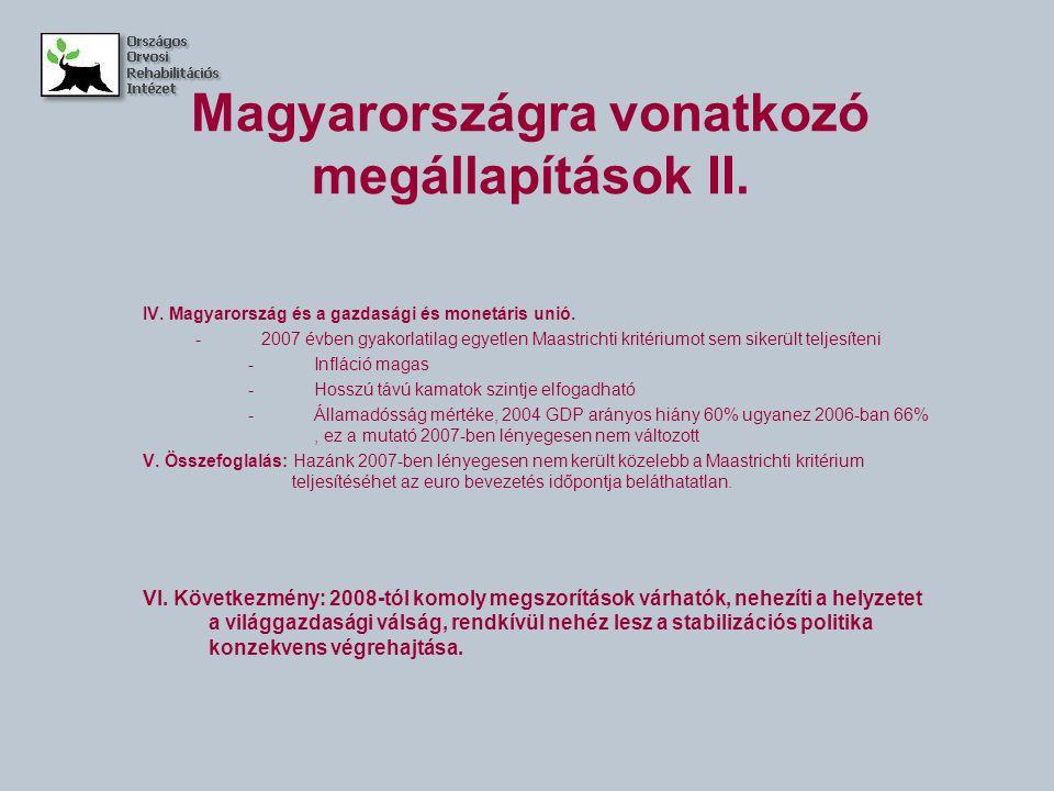 Magyarországra vonatkozó megállapítások II. IV. Magyarország és a gazdasági és monetáris unió.