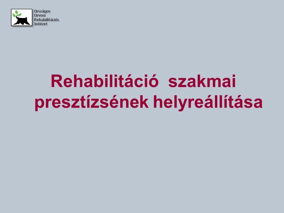 Rehabilitáció szakmai presztízsének helyreállítása
