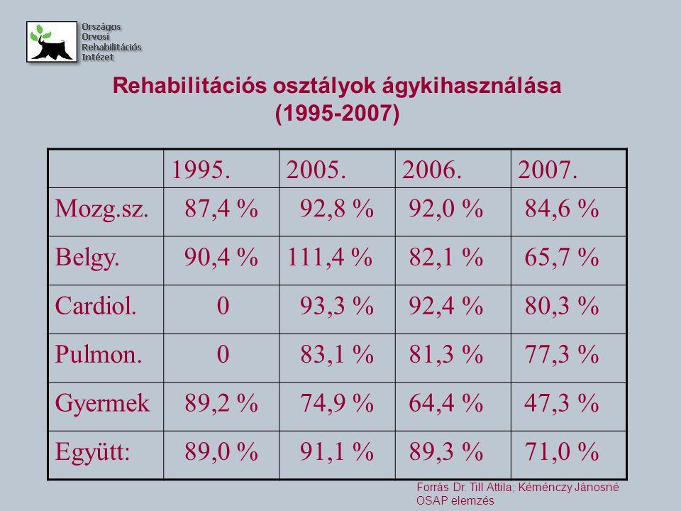 Rehabilitációs osztályok ágykihasználása (1995-2007) 1995.2005.2006.2007.