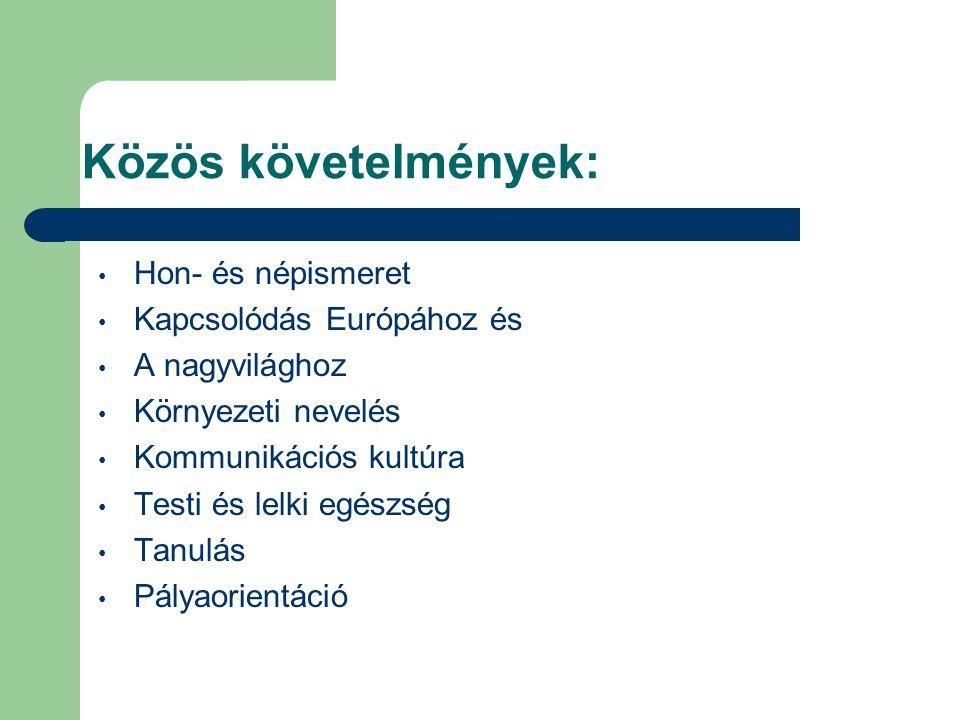 Közös követelmények: Hon- és népismeret Kapcsolódás Európához és A nagyvilághoz Környezeti nevelés Kommunikációs kultúra Testi és lelki egészség Tanul