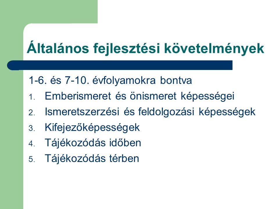 Általános fejlesztési követelmények 1-6. és 7-10. évfolyamokra bontva 1. Emberismeret és önismeret képességei 2. Ismeretszerzési és feldolgozási képes