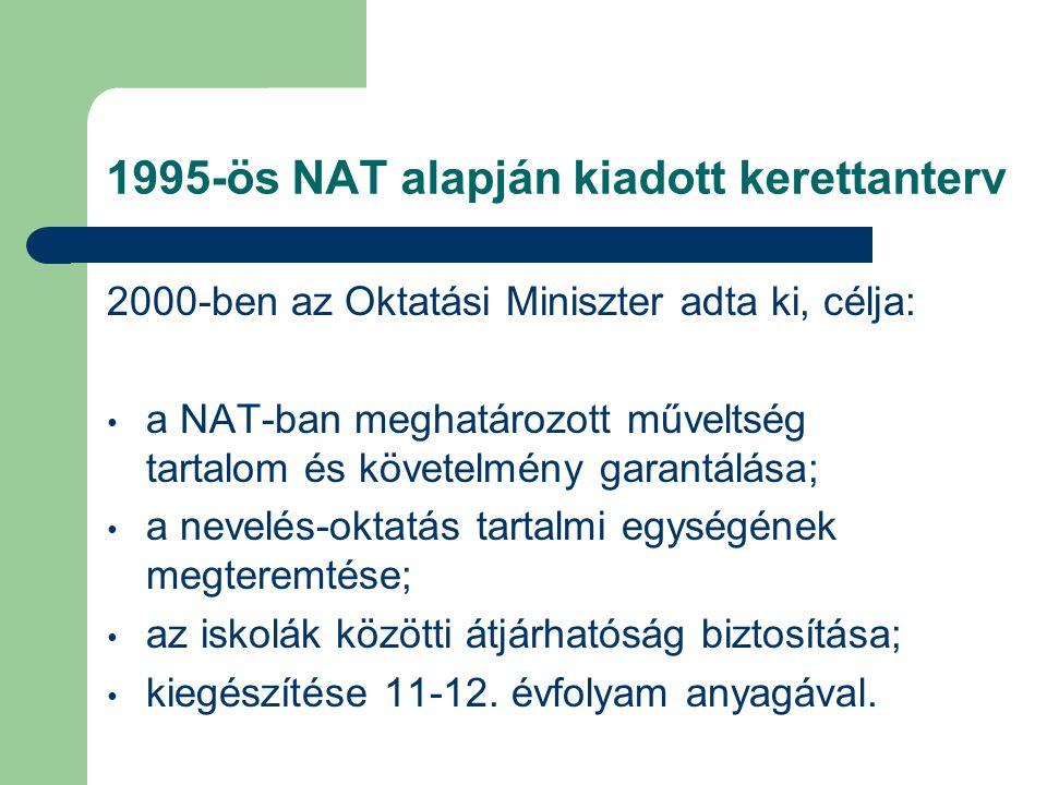 1995-ös NAT alapján kiadott kerettanterv 2000-ben az Oktatási Miniszter adta ki, célja: a NAT-ban meghatározott műveltség tartalom és követelmény gara