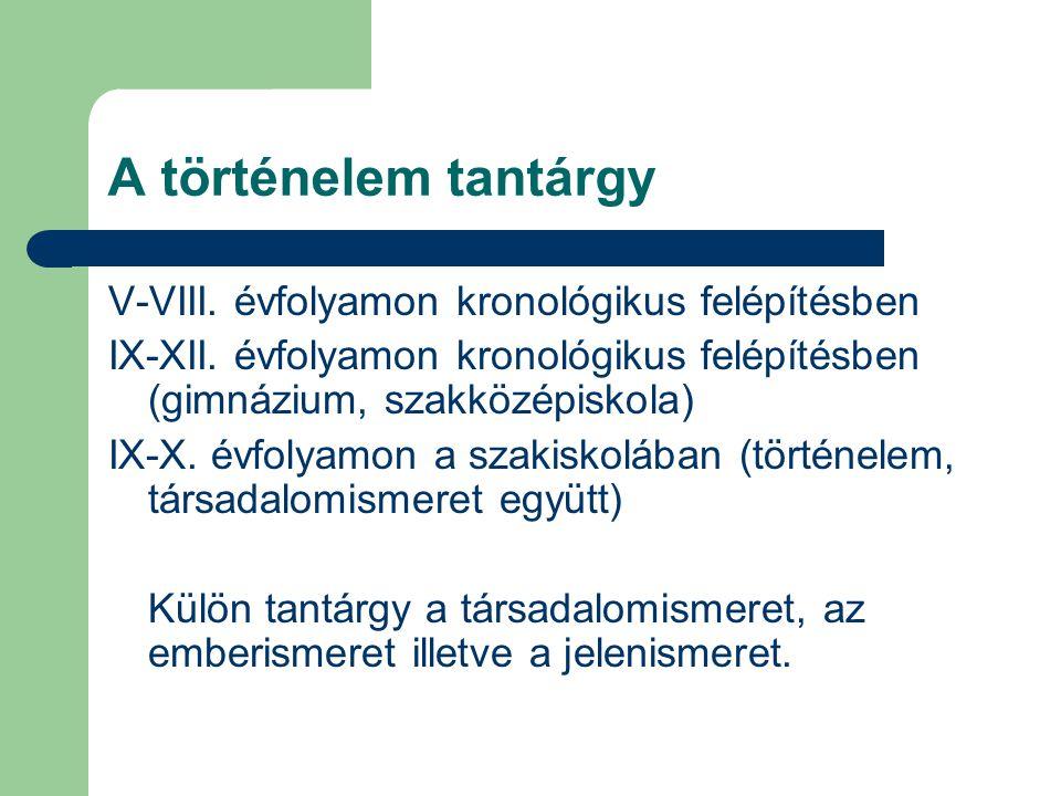 A történelem tantárgy V-VIII. évfolyamon kronológikus felépítésben IX-XII. évfolyamon kronológikus felépítésben (gimnázium, szakközépiskola) IX-X. évf