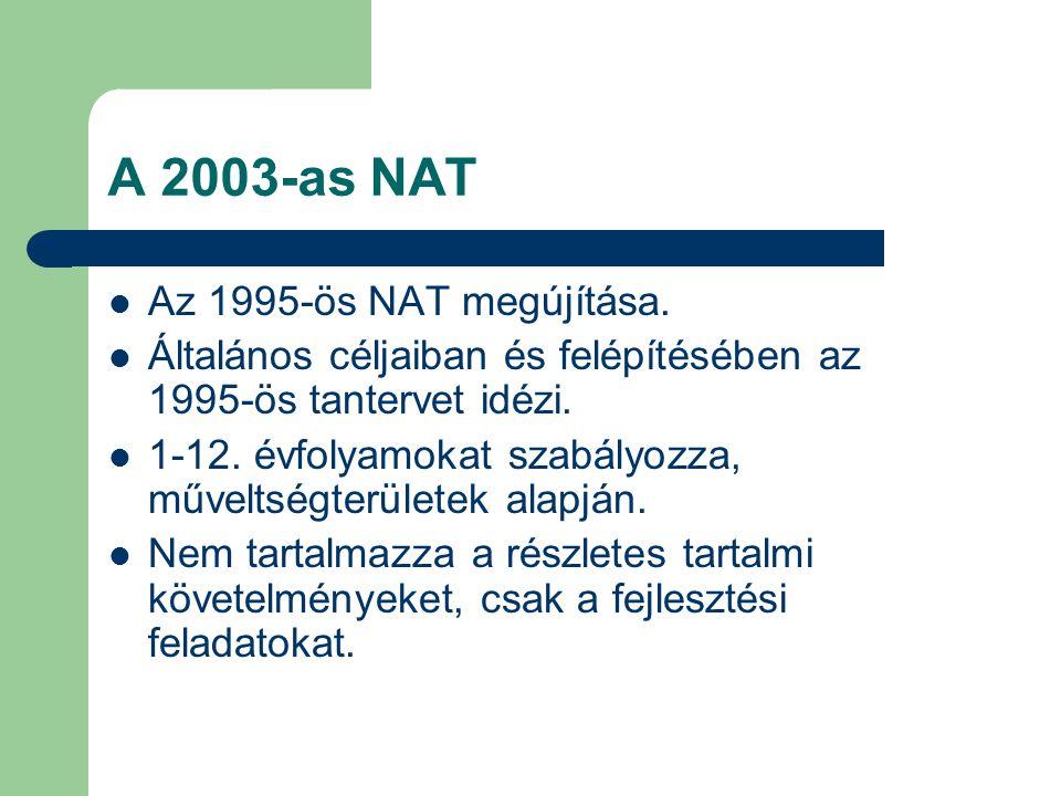 A 2003-as NAT Az 1995-ös NAT megújítása. Általános céljaiban és felépítésében az 1995-ös tantervet idézi. 1-12. évfolyamokat szabályozza, műveltségter