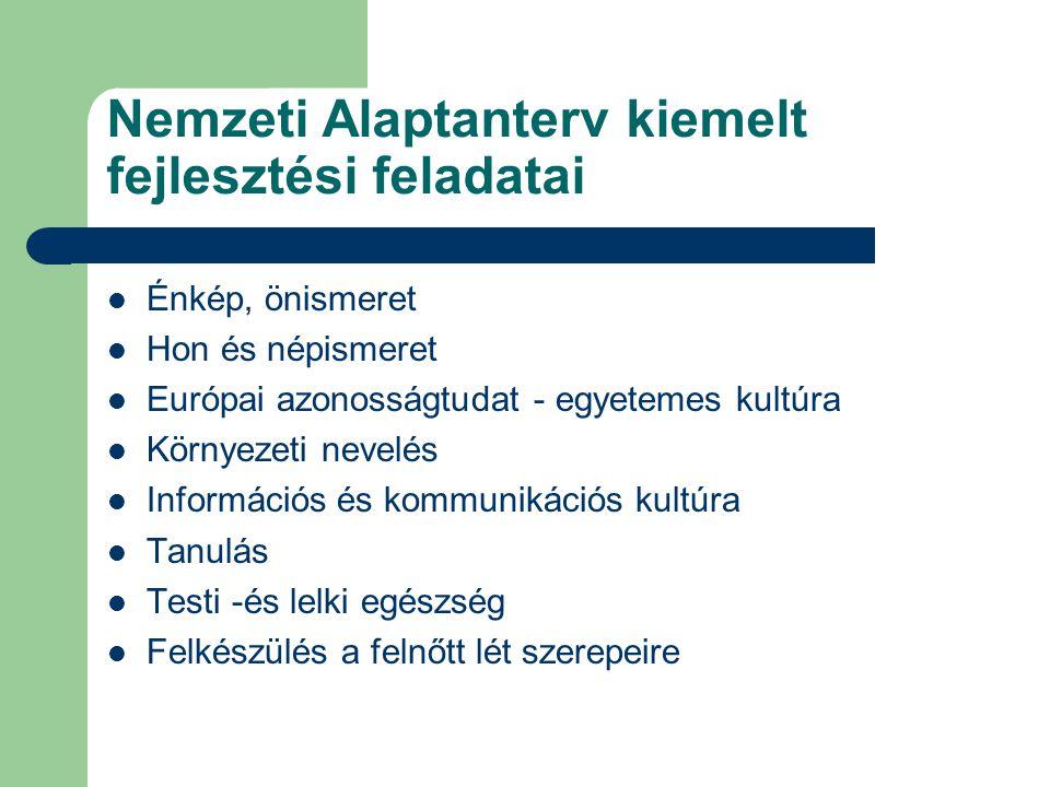 Nemzeti Alaptanterv kiemelt fejlesztési feladatai Énkép, önismeret Hon és népismeret Európai azonosságtudat - egyetemes kultúra Környezeti nevelés Inf