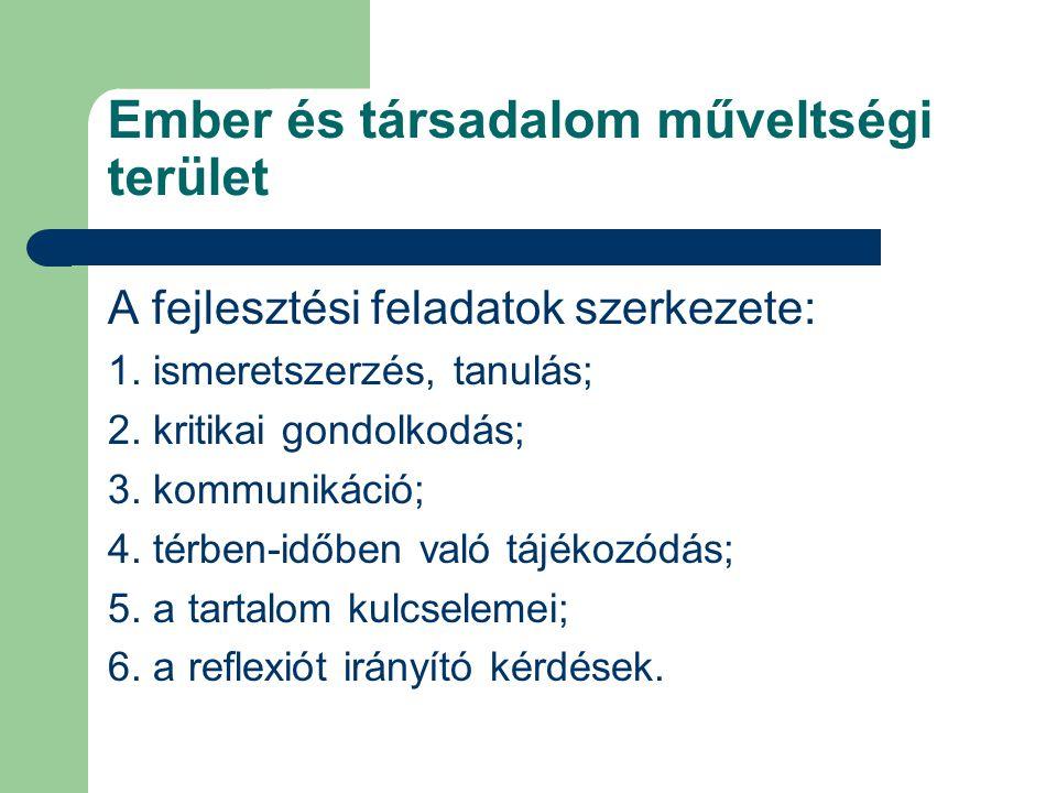 Ember és társadalom műveltségi terület A fejlesztési feladatok szerkezete: 1. ismeretszerzés, tanulás; 2. kritikai gondolkodás; 3. kommunikáció; 4. té