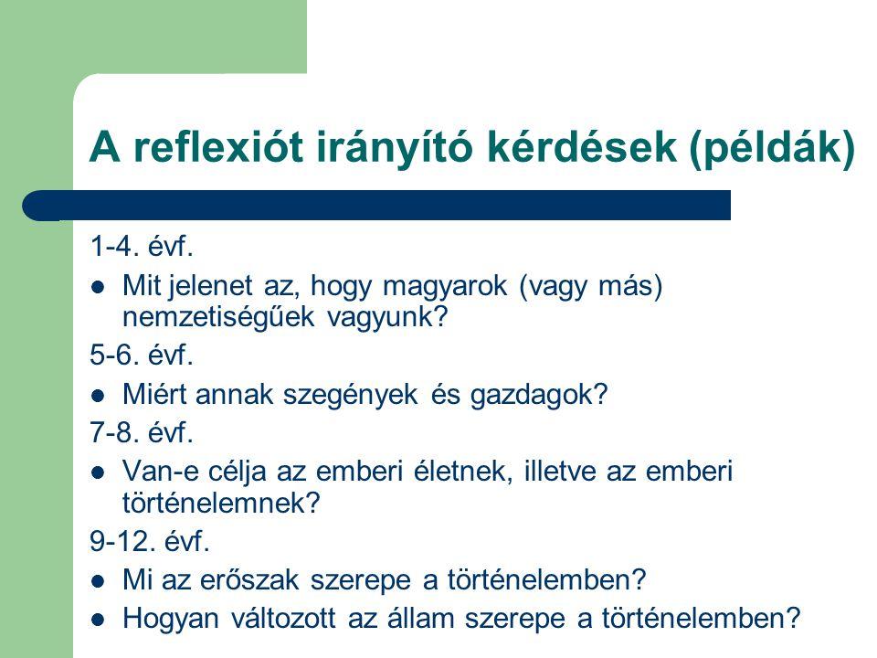 A reflexiót irányító kérdések (példák) 1-4. évf. Mit jelenet az, hogy magyarok (vagy más) nemzetiségűek vagyunk? 5-6. évf. Miért annak szegények és ga