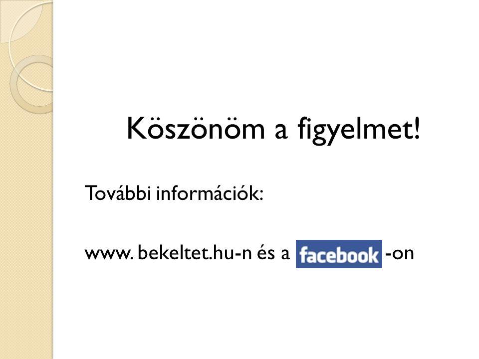 Köszönöm a figyelmet! További információk: www. bekeltet.hu-n és a -on
