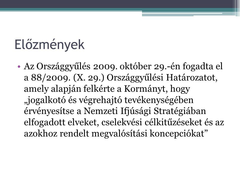 Előzmények Az Országgyűlés 2009.október 29.-én fogadta el a 88/2009.