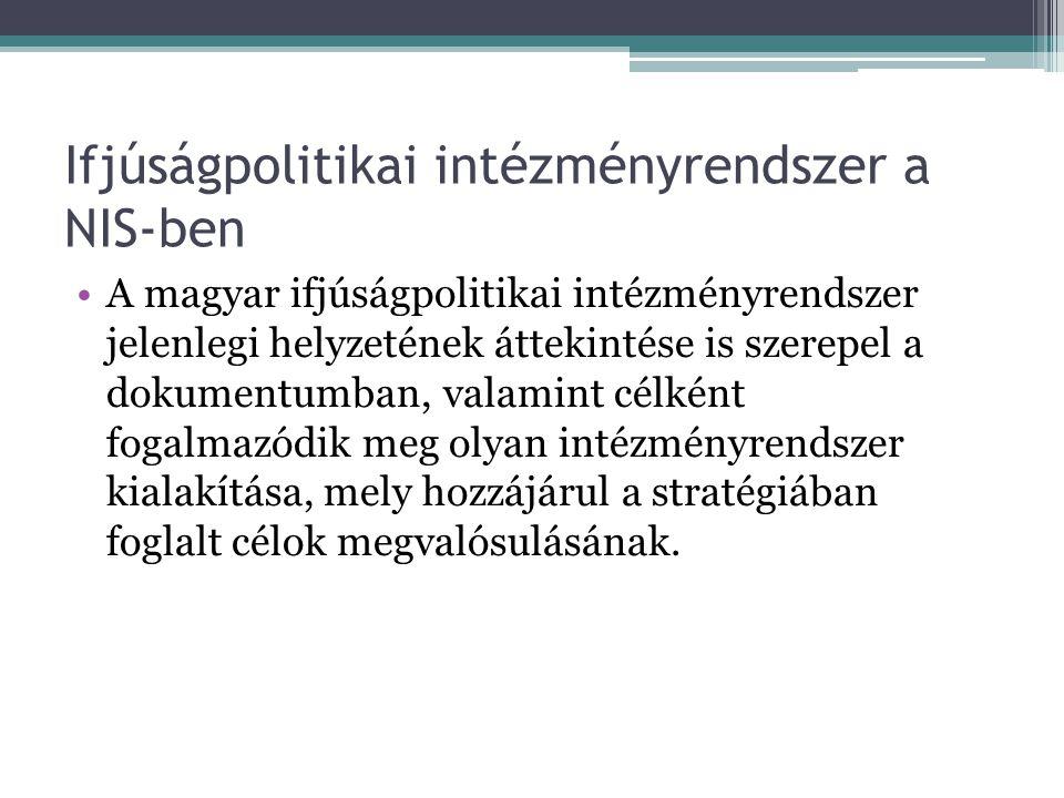 Ifjúságpolitikai intézményrendszer a NIS-ben A magyar ifjúságpolitikai intézményrendszer jelenlegi helyzetének áttekintése is szerepel a dokumentumban, valamint célként fogalmazódik meg olyan intézményrendszer kialakítása, mely hozzájárul a stratégiában foglalt célok megvalósulásának.