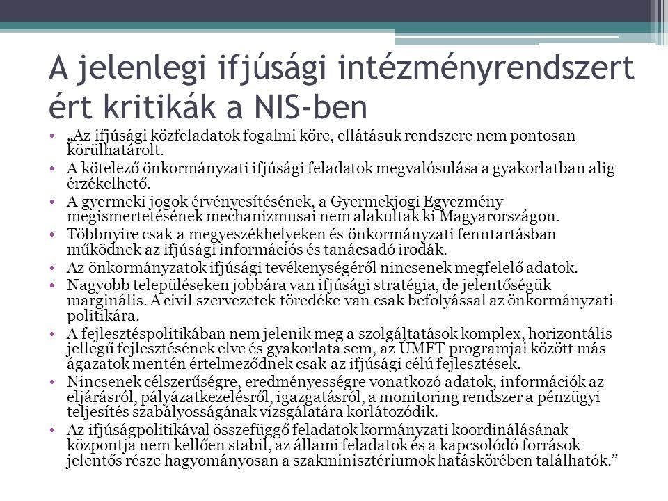 """A jelenlegi ifjúsági intézményrendszert ért kritikák a NIS-ben """"Az ifjúsági közfeladatok fogalmi köre, ellátásuk rendszere nem pontosan körülhatárolt."""
