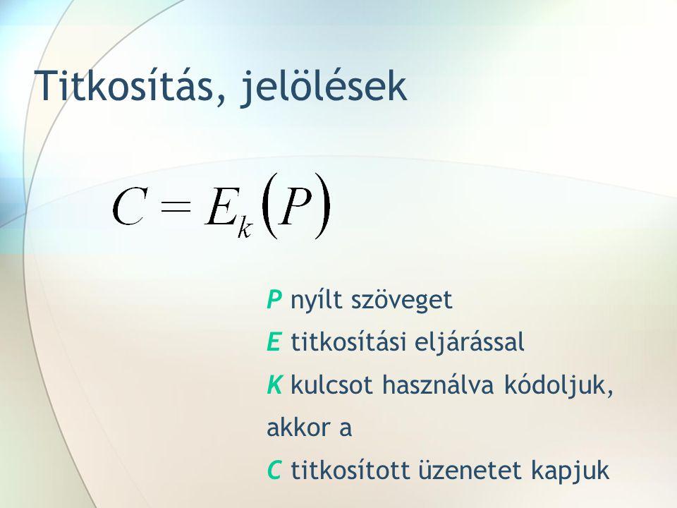 Titkosítás, jelölések Pnyílt szöveget Etitkosítási eljárással Kkulcsot használva kódoljuk, akkor a C titkosított üzenetet kapjuk