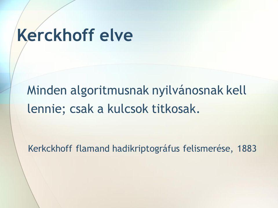 Kerckhoff elve Minden algoritmusnak nyilvánosnak kell lennie; csak a kulcsok titkosak. Kerkckhoff flamand hadikriptográfus felismerése, 1883