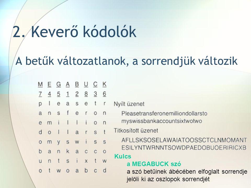 2. Keverő kódolók A betűk változatlanok, a sorrendjük változik Kulcs a MEGABUCK szó a szó betűinek ábécében elfoglalt sorrendje jelöli ki az oszlopok