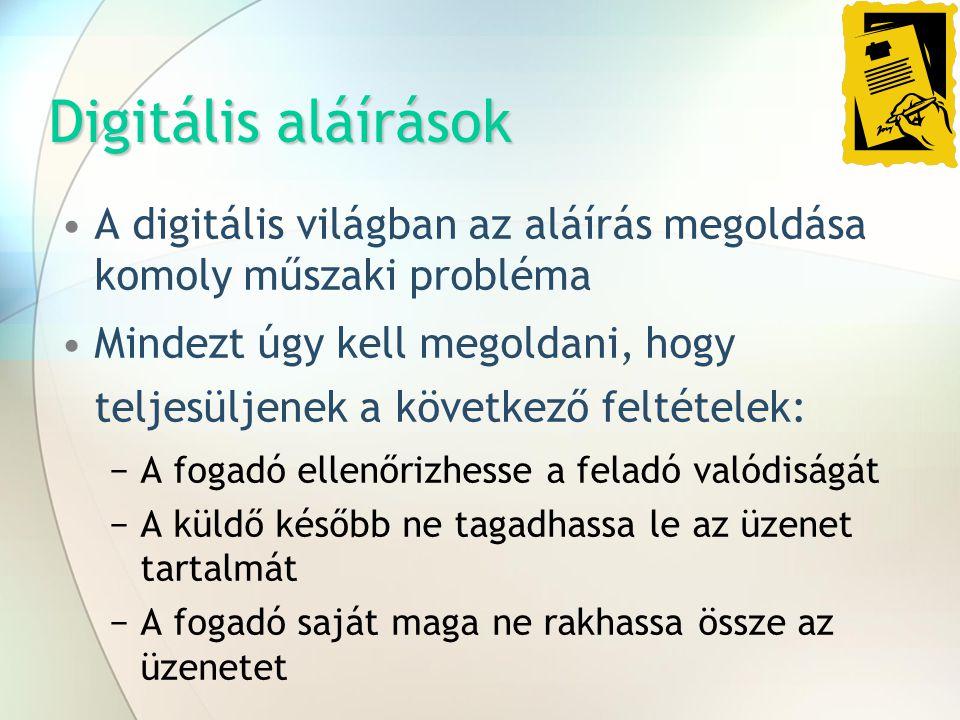 Digitális aláírások A digitális világban az aláírás megoldása komoly műszaki probléma Mindezt úgy kell megoldani, hogy teljesüljenek a következő felté