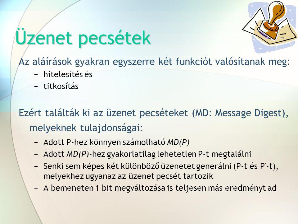 Üzenet pecsétek Az aláírások gyakran egyszerre két funkciót valósítanak meg: −hitelesítés és −titkosítás Ezért találták ki az üzenet pecséteket (MD: M