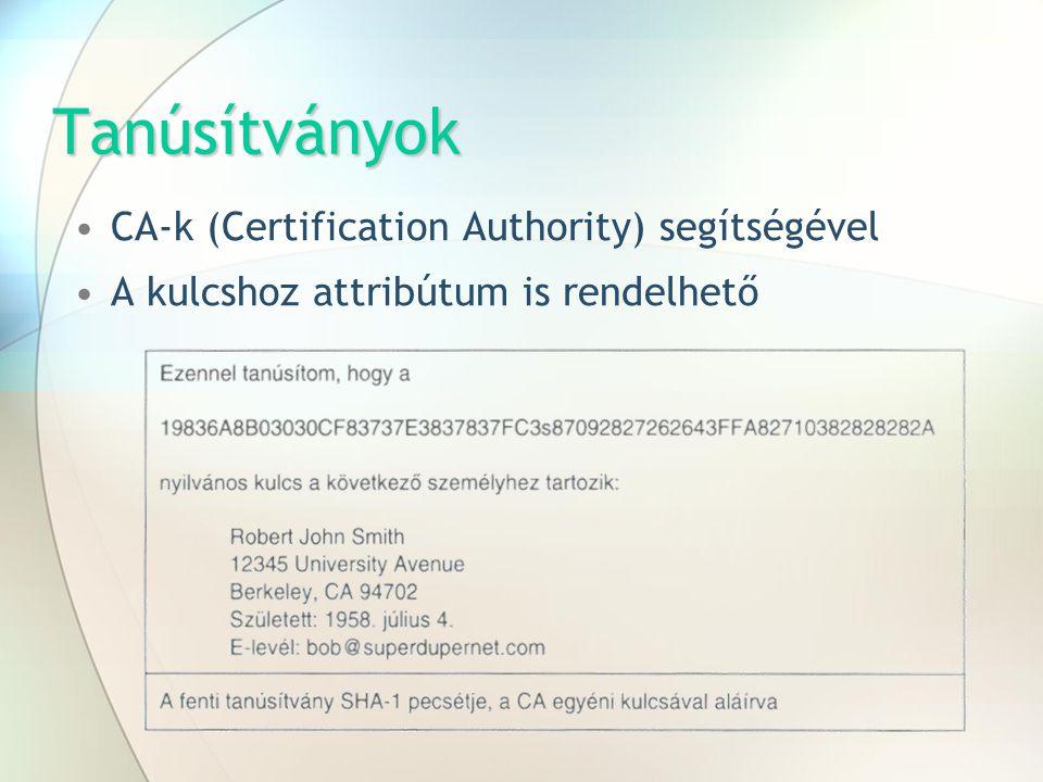 Tanúsítványok CA-k (Certification Authority) segítségével A kulcshoz attribútum is rendelhető