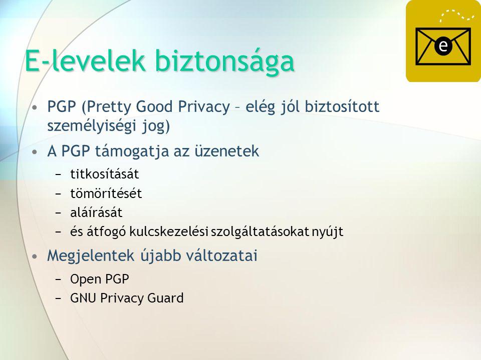 E-levelek biztonsága PGP (Pretty Good Privacy – elég jól biztosított személyiségi jog) A PGP támogatja az üzenetek −titkosítását −tömörítését −aláírás
