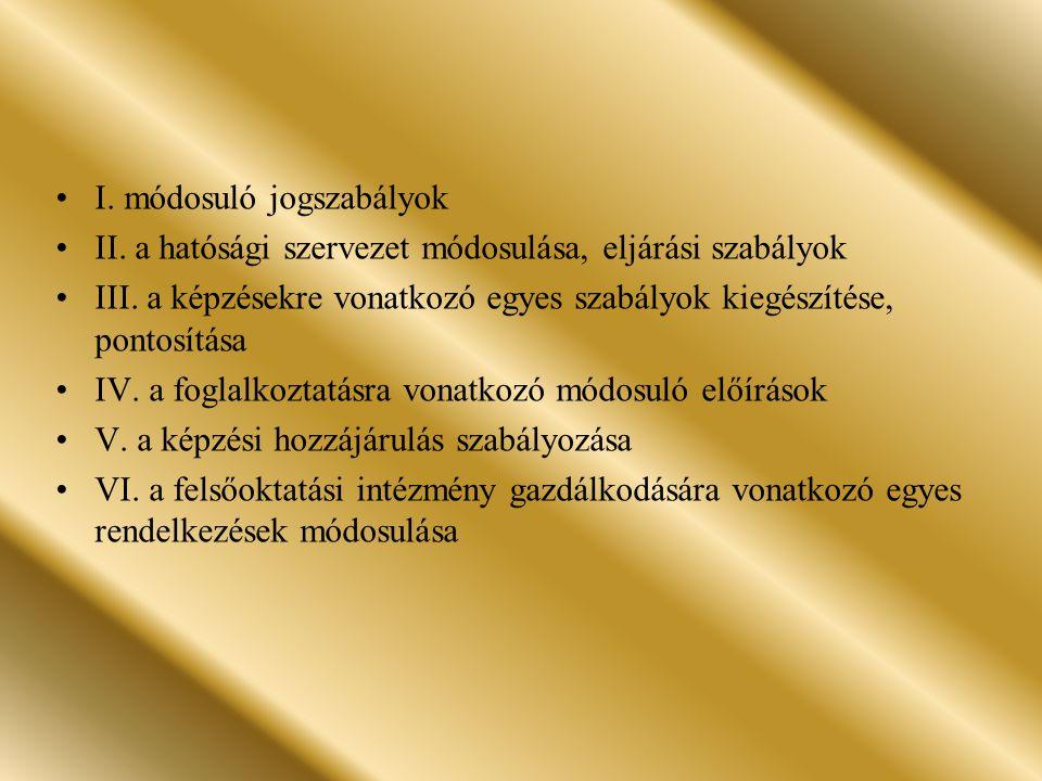 I.módosuló jogszabályok II. a hatósági szervezet módosulása, eljárási szabályok III.