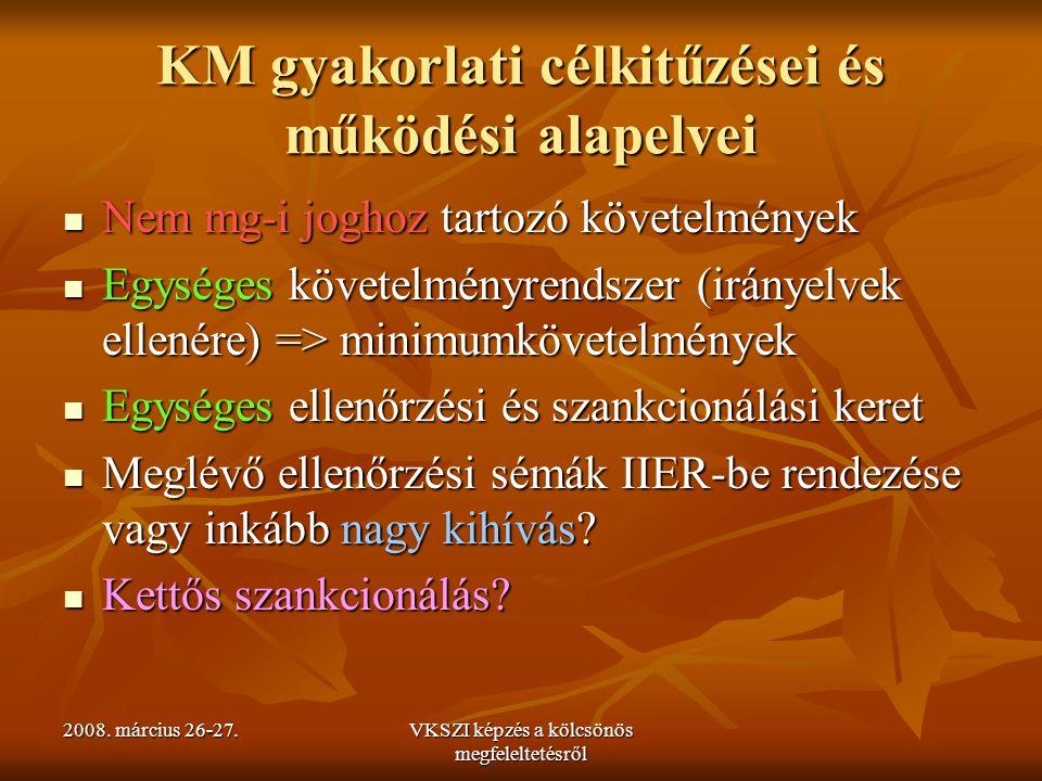 2008. március 26-27.VKSZI képzés a kölcsönös megfeleltetésről KM gyakorlati célkitűzései és működési alapelvei Nem mg-i joghoz tartozó követelmények N