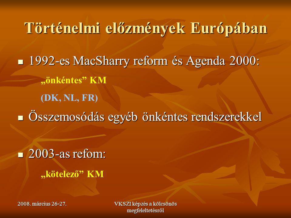 2008. március 26-27.VKSZI képzés a kölcsönös megfeleltetésről Történelmi előzmények Európában 1992-es MacSharry reform és Agenda 2000: 1992-es MacShar