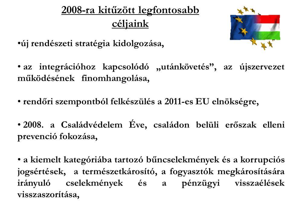 """2008-ra kitűzött legfontosabb céljaink új rendészeti stratégia kidolgozása, az integrációhoz kapcsolódó """"utánkövetés"""", az újszervezet működésének fino"""