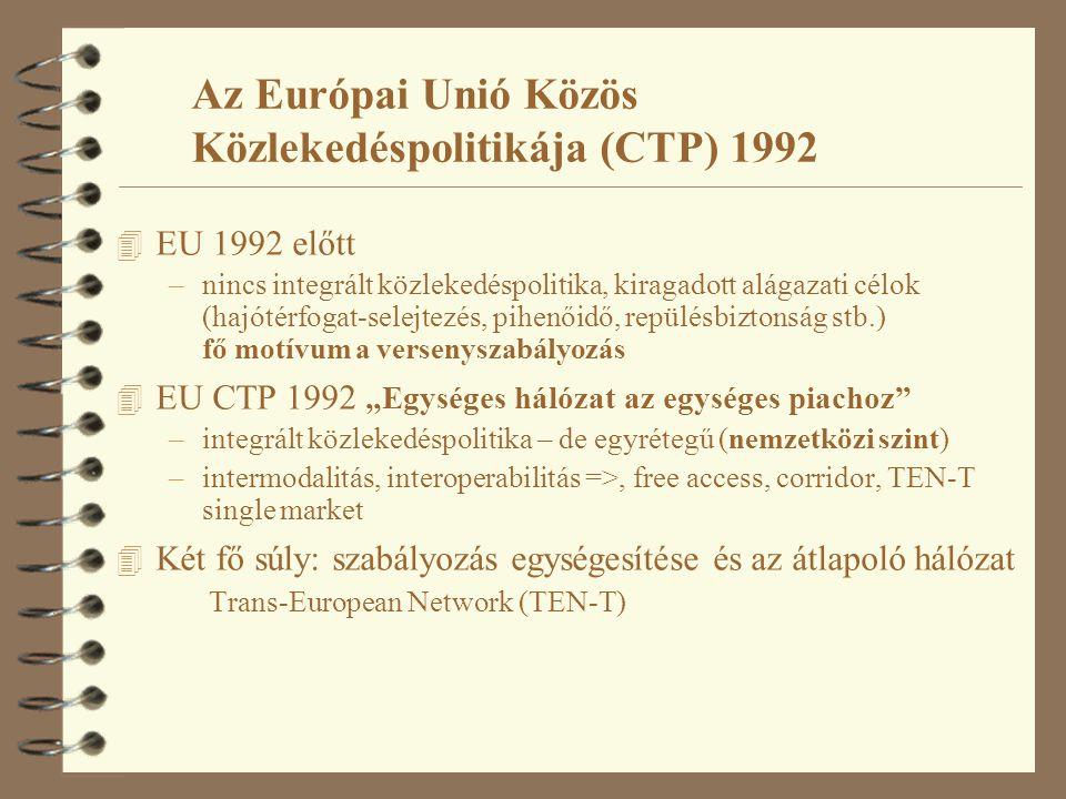 4 EU 1992 előtt –nincs integrált közlekedéspolitika, kiragadott alágazati célok (hajótérfogat-selejtezés, pihenőidő, repülésbiztonság stb.) fő motívum