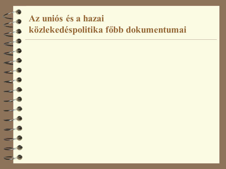 Új Magyarország Fejlesztési Terv 2006 National Strategic Reference Framework of Hungary 2007–2013 ÚMFT Közlekedési Operatív Program (KözOP) 2007 Egységes Közlekedésfejlesztési Stratégia ( EKFS ) – Zöld könyv 2007 Revision of TEN-T guidelines 2009…10…11… Egységes Közlekedésfejlesztési Stratégia ( EKFS ) – Alágazati 2008 Egységes Közlekedésfejlesztési Stratégia ( EKFS ) – Fehér könyv 2007 A 2001-es WP felülvizsgálata 2006