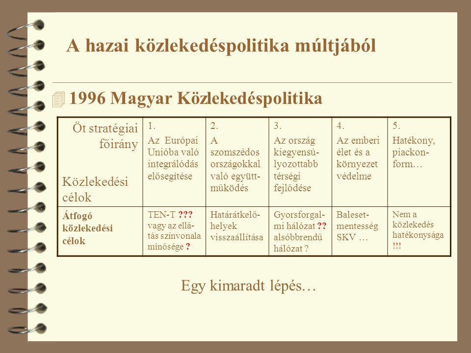 4 1996 Magyar Közlekedéspolitika Öt stratégiai főirány Közlekedési célok 1. Az Európai Unióba való integrálódás elősegítése 2. A szomszédos országokka