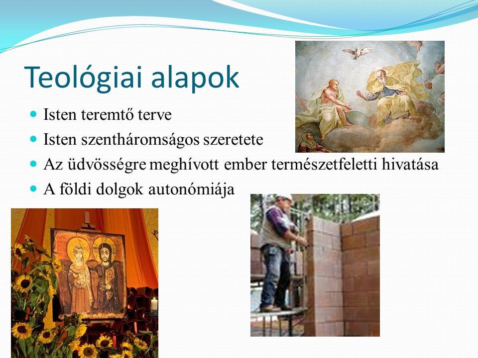 Teológiai alapok Isten teremtő terve Isten szentháromságos szeretete Az üdvösségre meghívott ember természetfeletti hivatása A földi dolgok autonómiája