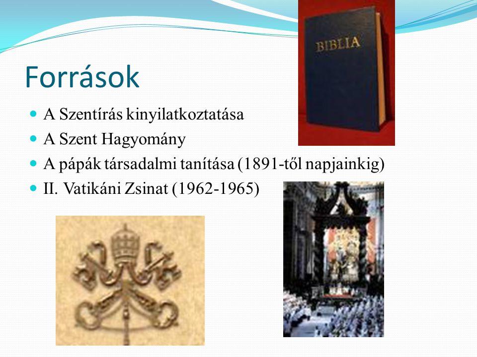 Források A Szentírás kinyilatkoztatása A Szent Hagyomány A pápák társadalmi tanítása (1891-től napjainkig) II.