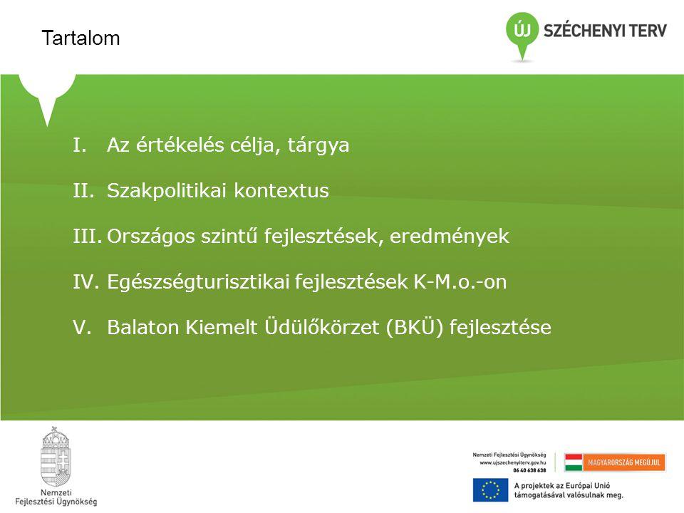 I.Az értékelés célja, tárgya II.Szakpolitikai kontextus III.Országos szintű fejlesztések, eredmények IV.Egészségturisztikai fejlesztések K-M.o.-on V.B