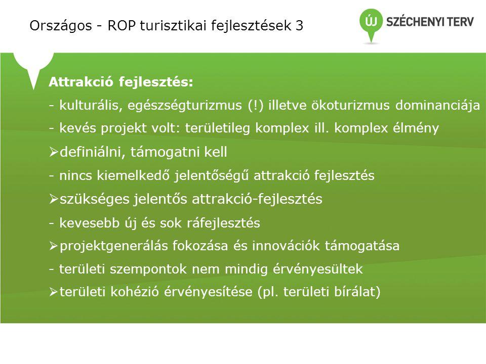 Országos - ROP turisztikai fejlesztések 3 Attrakció fejlesztés: - kulturális, egészségturizmus (!) illetve ökoturizmus dominanciája - kevés projekt vo