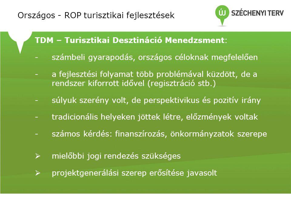 TDM – Turisztikai Desztináció Menedzsment: -számbeli gyarapodás, országos céloknak megfelelően -a fejlesztési folyamat több problémával küzdött, de a