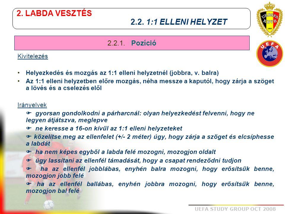 UEFA STUDY GROUP OCT 2008 2. LABDA VESZTÉS 2.2. 1:1 ELLENI HELYZET Kivitelezés Helyezkedés és mozgás az 1:1 elleni helyzetnél (jobbra, v. balra) Az 1: