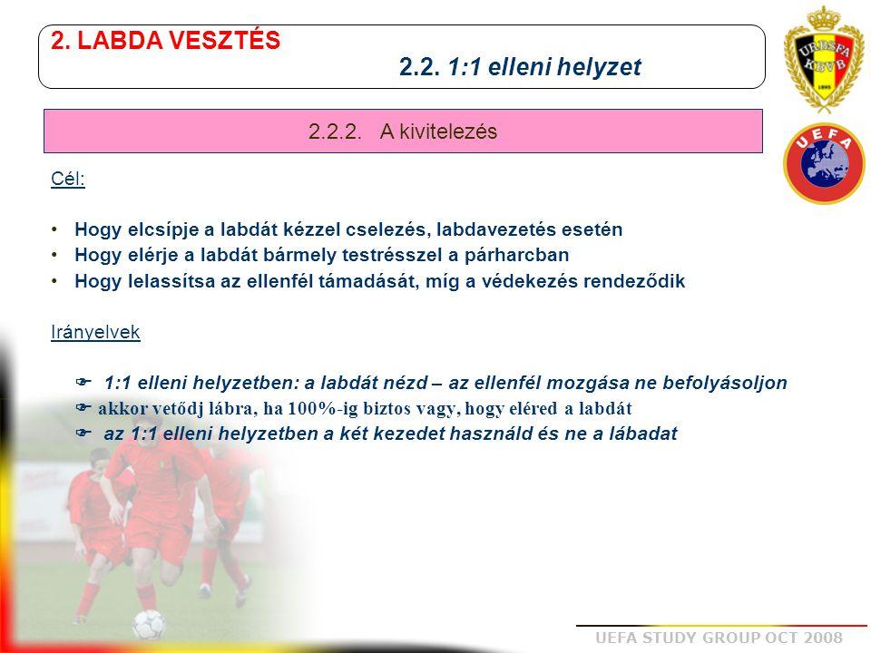 UEFA STUDY GROUP OCT 2008 2. LABDA VESZTÉS 2.2. 1:1 elleni helyzet Cél: Hogy elcsípje a labdát kézzel cselezés, labdavezetés esetén Hogy elérje a labd