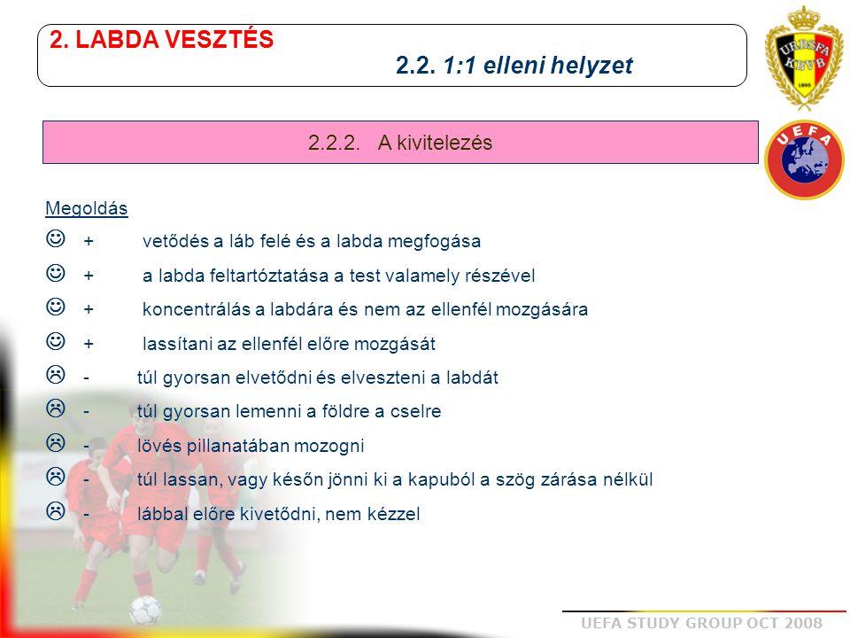UEFA STUDY GROUP OCT 2008 2. LABDA VESZTÉS 2.2. 1:1 elleni helyzet Megoldás + vetődés a láb felé és a labda megfogása + a labda feltartóztatása a test