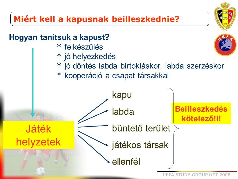 UEFA STUDY GROUP OCT 2008 Miért kell a kapusnak beilleszkednie? Hogyan tanítsuk a kapust ? * felkészülés * jó helyezkedés * jó döntés labda birtoklásk