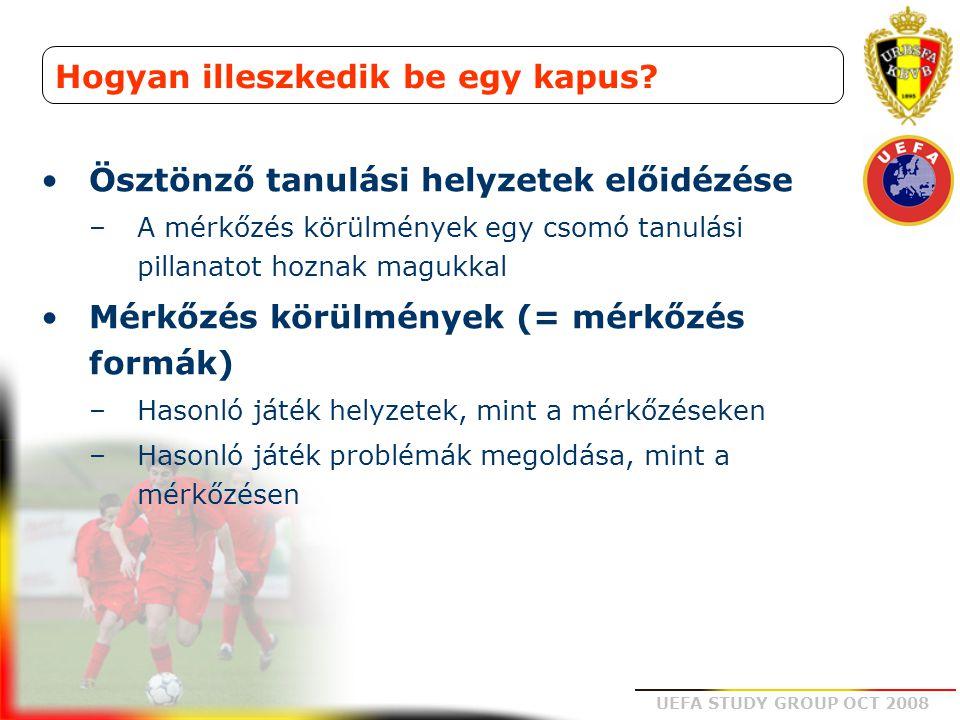 UEFA STUDY GROUP OCT 2008 Hogyan illeszkedik be egy kapus? Ösztönző tanulási helyzetek előidézése –A mérkőzés körülmények egy csomó tanulási pillanato
