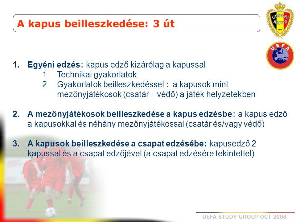 UEFA STUDY GROUP OCT 2008 A kapus beilleszkedése: 3 út 1.Egyéni edzés : kapus edző kizárólag a kapussal 1.Technikai gyakorlatok 2.Gyakorlatok beillesz