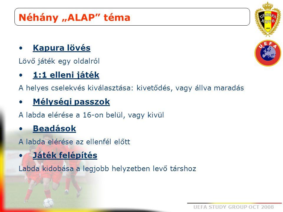 """UEFA STUDY GROUP OCT 2008 Néhány """"ALAP"""" téma Kapura lövés Lövő játék egy oldalról 1:1 elleni játék A helyes cselekvés kiválasztása: kivetődés, vagy ál"""