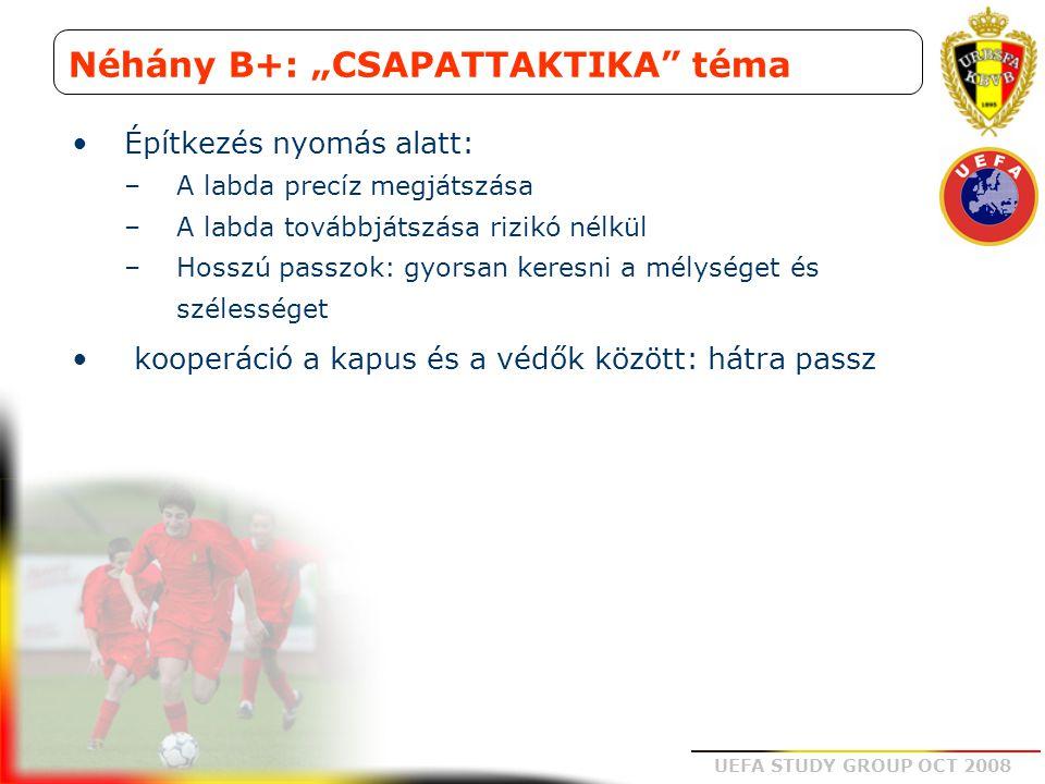 """UEFA STUDY GROUP OCT 2008 Néhány B+: """"CSAPATTAKTIKA"""" téma Építkezés nyomás alatt: –A labda precíz megjátszása –A labda továbbjátszása rizikó nélkül –H"""