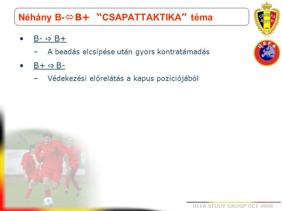 """UEFA STUDY GROUP OCT 2008 Néhány B-  B+ """" CSAPATTAKTIKA """" téma B-  B+ –A beadás elcsípése után gyors kontratámadás B+  B- –Védekezési előrelátás a"""