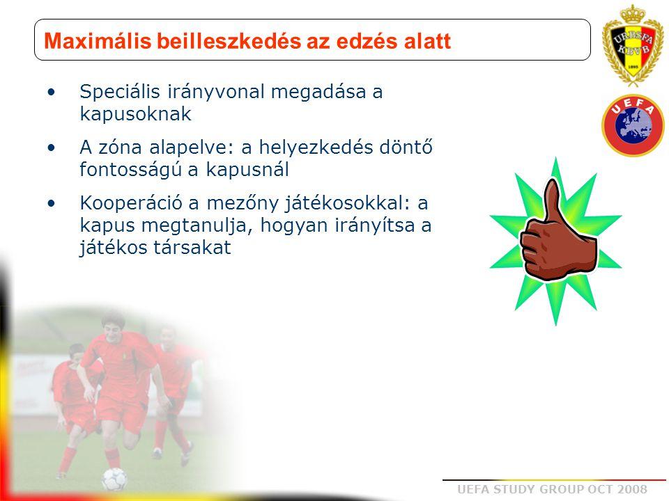 UEFA STUDY GROUP OCT 2008 Maximális beilleszkedés az edzés alatt Speciális irányvonal megadása a kapusoknak A zóna alapelve: a helyezkedés döntő fonto