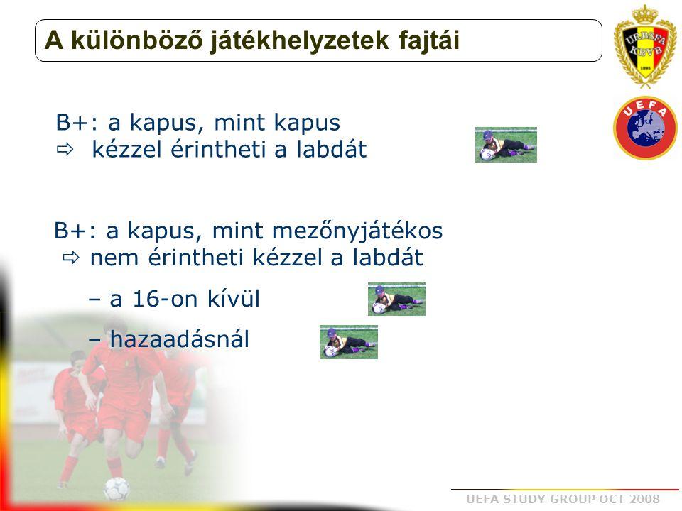 UEFA STUDY GROUP OCT 2008 A különböző játékhelyzetek fajtái B+: a kapus, mint mezőnyjátékos  nem érintheti kézzel a labdát – a 16-on kívül – hazaadás